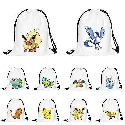 Pokemon Sack String Drawstring Travel School Gym Tote PE Bag