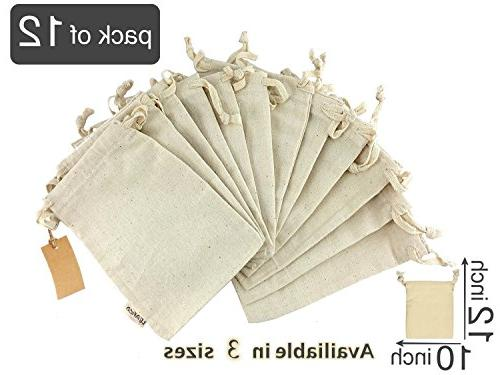 Eco Bags Multipurpose Muslin Bags With Drawstring | 10x12 Sachet Canvas and Bread Bags, Linen Count