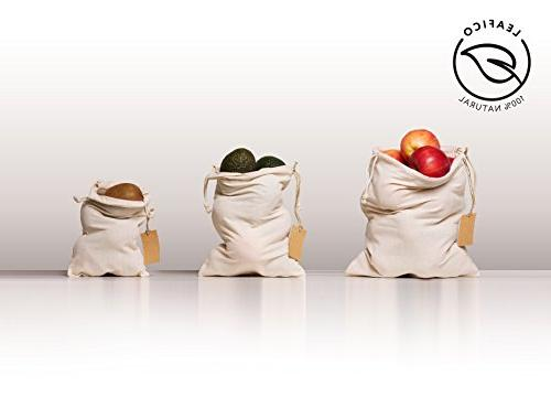 Eco Bags Multipurpose Muslin Bags With 10x12 Sachet Canvas Bags, Bread Bags, Produce Bags, Linen Count Leafico