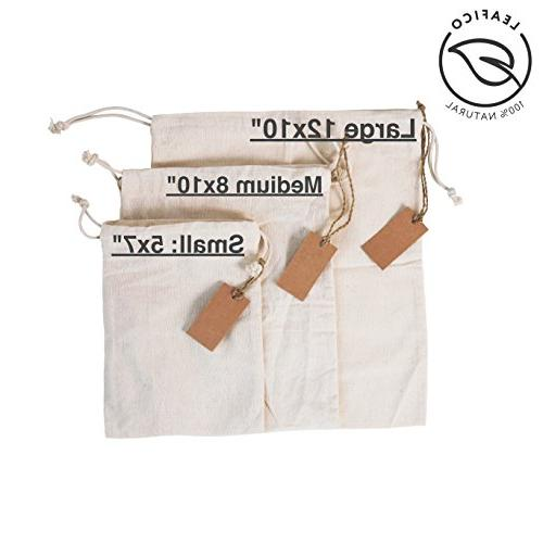 Eco bags, Bags Multipurpose With Drawstring 10x12 Canvas Bags, Bread Bags, Bags, Count Leafico