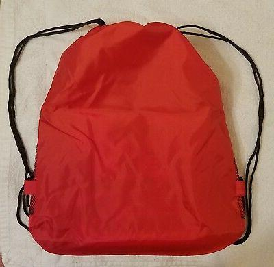 Red Drawstring Sport Gym Tote Bag