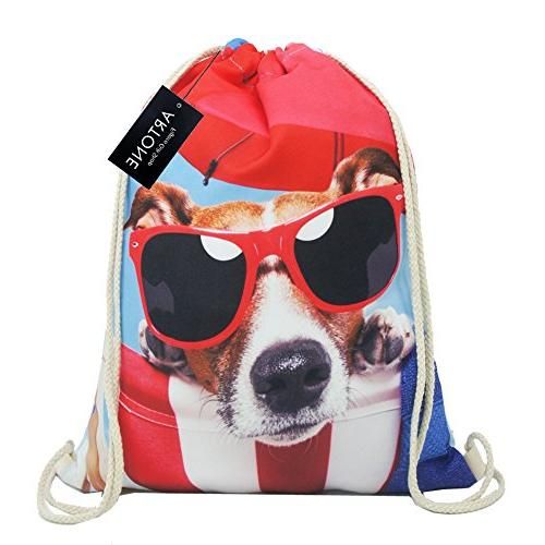 sunglasses dog polyester drawstring bag