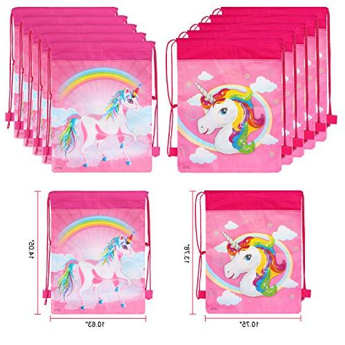 Unicorn Bags for Party Supplies Unicorn Drawstring Bulk Kids Children for Candy Baby Favors