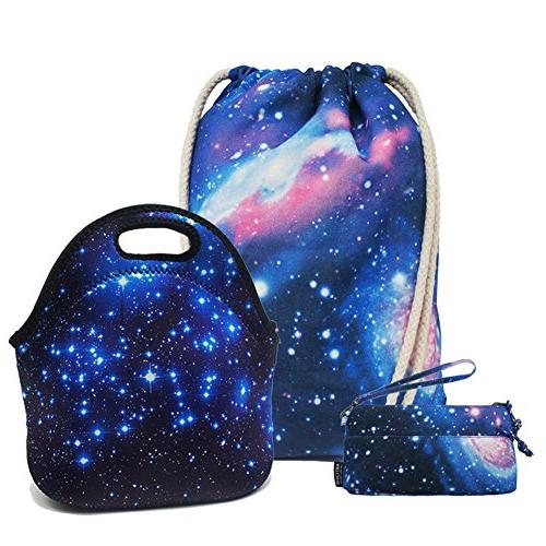 universe galaxy drawstring backpack lunch