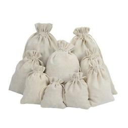 Large Linen Calico Drawstring Bags - Xmas Sack / Stocking -