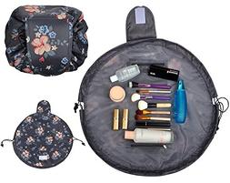 Lazy Cosmetic Bag with Drawstring & Brush Holder Large Capac
