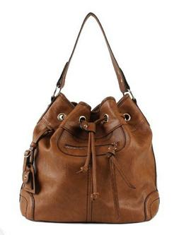 Leather drawstring bucket Bag Large Commute Handbag Shoulder