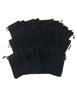 Lot Black Velvety Drawstring Velour Pouch Jewelry Bag Sets -