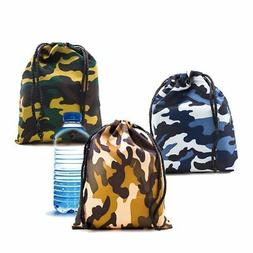 Lot of 12 Camo Camouflage Polyester Drawstring Bags Loot Sac
