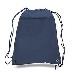 Lot of 12 - Navy Blue Polyester Drawstring Bag with Zipper,