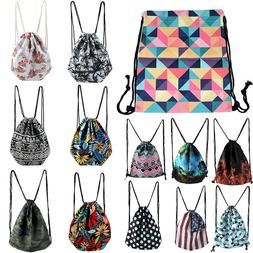 Men Women Drawstring Backpack Cinch Sack Outdoor Gym Tote Ba