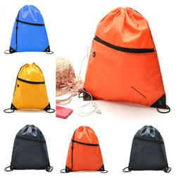 Men Women Drawstring Bag Backpack Fitness Gym Swimming Beach