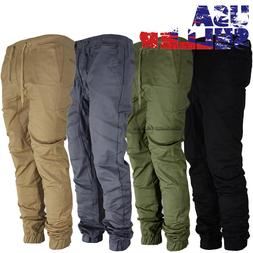 Mens Casual Pants Twill Joggers Hip Hop Elastic Jogger Slim