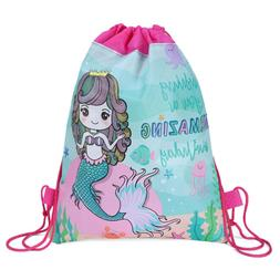 Mermaid Non-woven Bag Backpack Kids Travel School Decor Draw