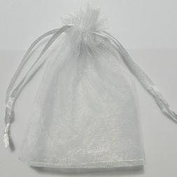 Mini White Organza Drawstring Bags