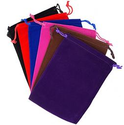Pack of 6 Mix Color Soft Velvet Pouches w Drawstrings for Je