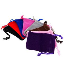 Pack of 8 Mix Color Soft Velvet Pouches w Drawstrings for Je