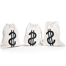 "PAUBOLI ""$ ""Money Bag 8 x 10"" Inches 3pcs/Pkg Canvas Drawstr"