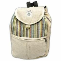 Natural Hemp Small Drawstring Backpack Book Bag Daypack, 15