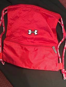 NWOT Under Armour Red Top Loading Drawstring Backpack Gym Ba