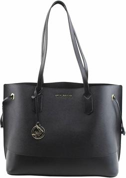 NWT Michael Kors Trista Large Drawstring Tote Leather Bag Bl