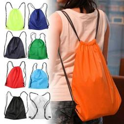 Nylon Drawstring Backpack Bag String Waterproof Sackpack Spo