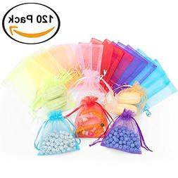 120pcs Organza Gift Candy Bags Color Jewelry Pouches Wrap Ca