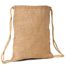 Pack of 2-Unlaminated Natural Jute Burlap Large Drawstring B