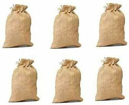 Pack of 6 -Un-laminated Jute Burlap Drawstring Bag Eco-frien
