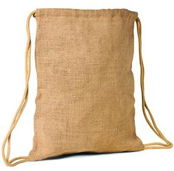 Pack of 6- Unlaminated Natural Jute Burlap Large Drawstring