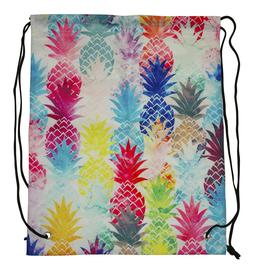 Pineapple Womens Girls Drawstring Backpack Gym Bag String Ci