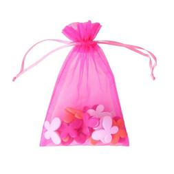 "Hot Pink 4x6"" 10x15cm Drawstring Organza Pouch Strong Weddin"