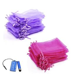 Bluecell Pack of 50 Hot Pink+Pack of 50 Purple color Organza