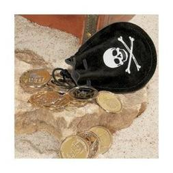 Fun Express Pirate Drawstring Bags with Gold Coins