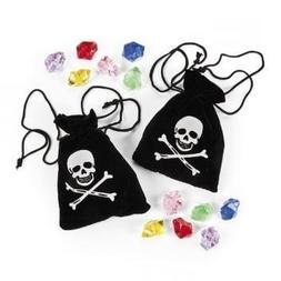 Fun Express Pirate Drawstring Bags with Jewels