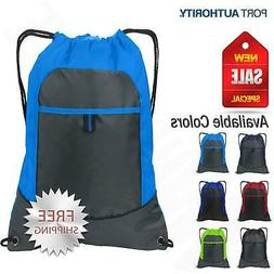 Port Authority Pocket Cinch Pack Drawstring Sport Gym Bag BG