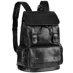 Vbiger Unisex PU Leather Laptop Backpack Large-capacity Casu