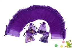 Wuligirl 100 PCS Purple Organza Gift Bags Marbles Coins Bags