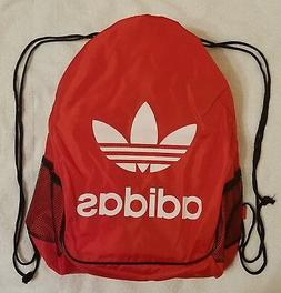 Red Drawstring Backpack Adidas Sport Gym School Sack Tote Tr