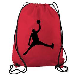 STICKERSLUG Red Jordan Dunk Basketball Player Drawstring Gym