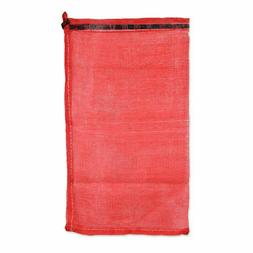 Red mesh bag with drawstring for onions, potatoes, nuts, oys