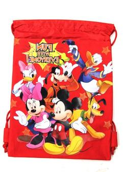 Red Mickey Mouse Drawstring Backpack - Mickey Mouse Drawstri