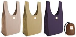Reusable Shopping Bags, Set of 3 Washable Grocery Totes in a