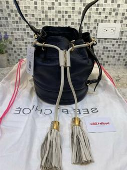 See By Chloe Black Leather Drawstring Bucket Bag Tassells NW
