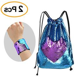 KUUQA Sequin Mermaid Drawstring Backpack Bag with Wristband