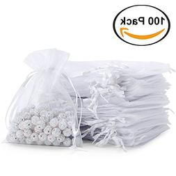 100pcs Sheer Drawstring Organza Gift Bags Jewelry Candy Choc