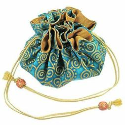 silk cotton drawstring jewelry pouch aquamarine blue