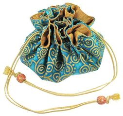 Silk & Cotton Drawstring Jewelry Pouch, Aquamarine Blue with