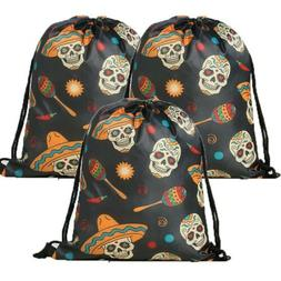 Skull Drawstring Bag Backpack Travel Gym Candy Treat Goodie