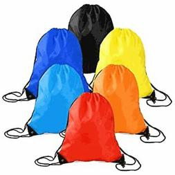String Drawstring Back Pack Cinch Sack Gym Tote Bag Sports S